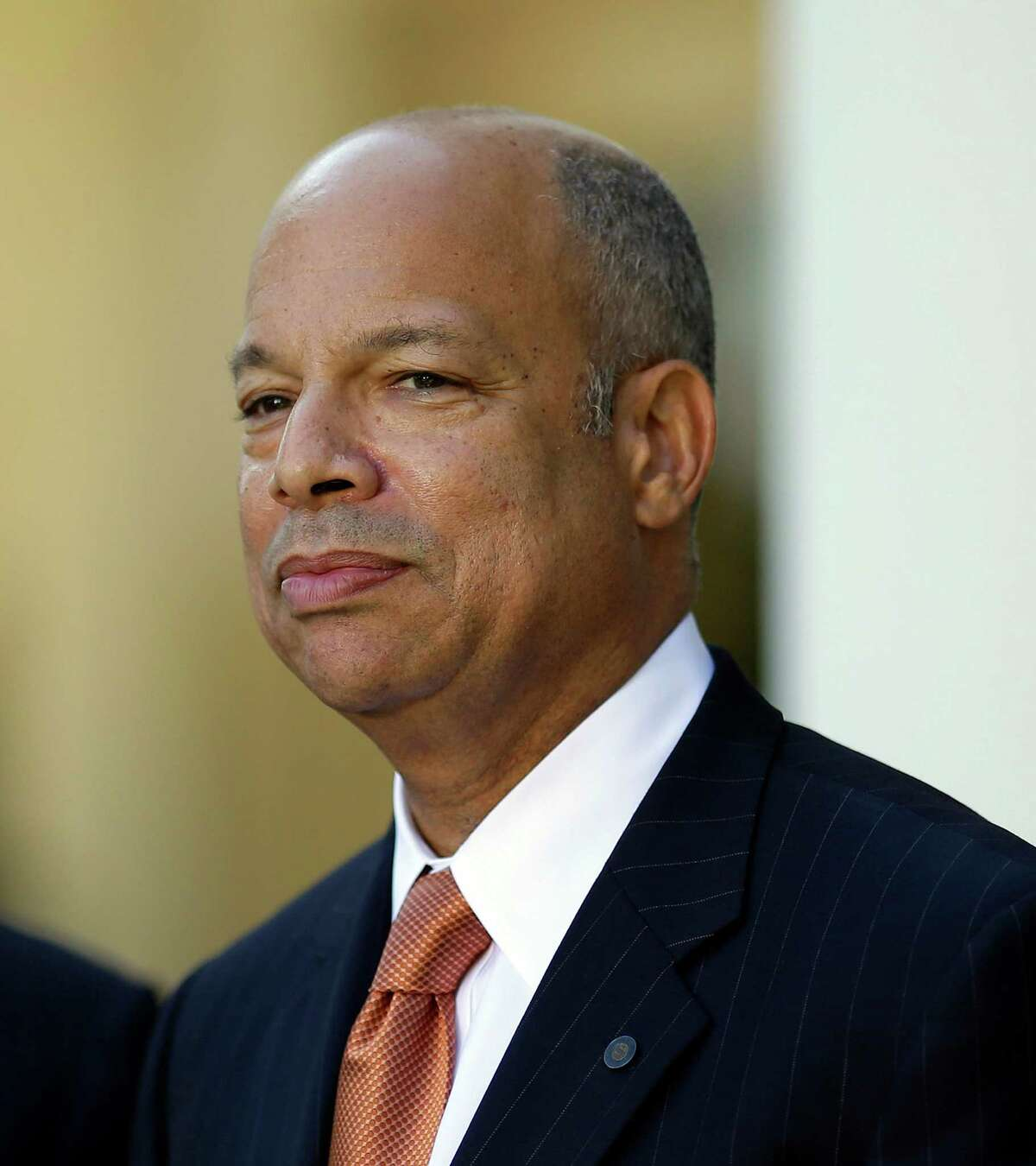 Jeh Johnson, President Barack Obama's choice for the next Homeland Security Secretary, watches in the Rose Garden at the White House in Washington, Friday, Oct. 18, 2013. Johnson was general counsel at the Defense Department during the wars in Iraq and Afghanistan.(AP Photo/Pablo Martinez Monsivais) Johnson as a special advisor to New York's chief judge put out a scathing report in October 2020 on the whiteness of judges in upstate New York. ORG XMIT: DCPM104