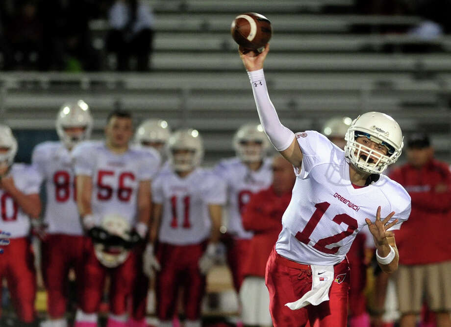 Greenwich QB Matt Marzula, during football action against Trumbull in Trumbull, Conn. on Friday October 18, 2013. Photo: Christian Abraham / Connecticut Post