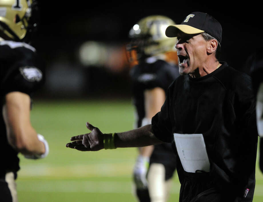 Trumbull's Head Coach Bob Maffei, during football action against Greenwich in Trumbull, Conn. on Friday October 18, 2013. Photo: Christian Abraham / Connecticut Post