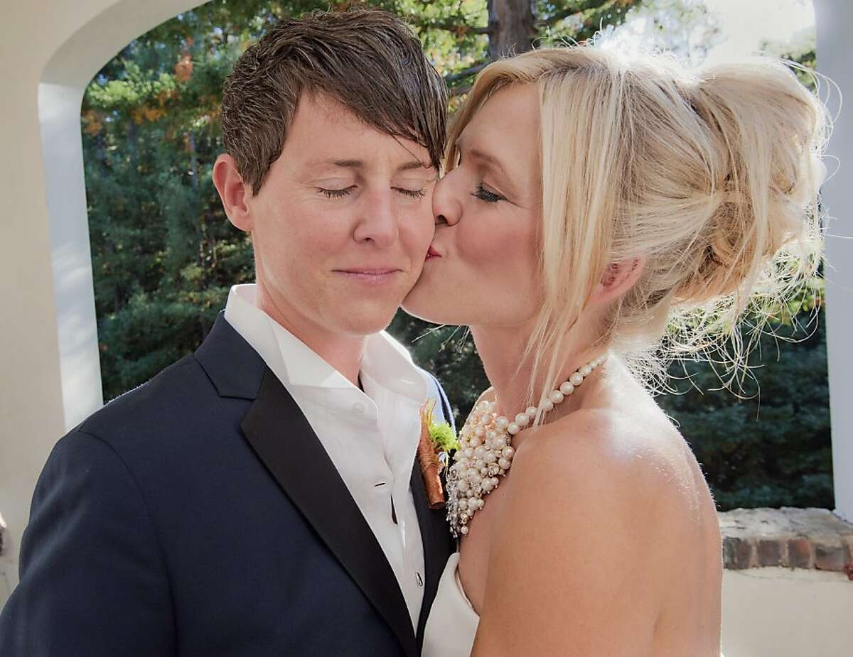 Emily Drabant and Erin Conley were married Aug. 17 at a redwood grove at the Ralston White Retreat Center in Mill Valley. Tthe couple exchanged vows while many of the 68 guests perched on logs and wiped away tears. Gay Glasscott, Ms. Drabant's high school guidance counselor, officiated.