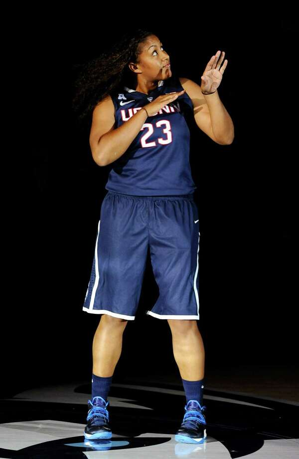Connecticut's Kaleena Mosqueda-Lewis dances as she is introduced at the men's and women's basketball teams' First Night event, Friday, Oct. 18, 2013, in Storrs, Conn. Photo: Jessica Hill, AP / Associated Press