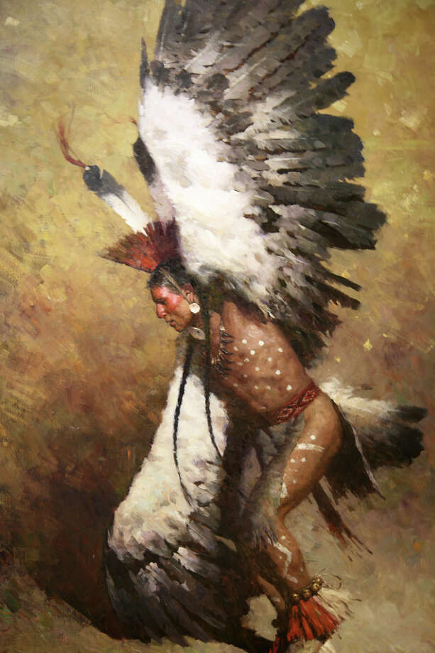 Briscoe Western Art Museum - A painting of an eagle dancer by Z.S. Liang Photo: Kristin Ware / Briscoe Museum Of Western Art / San Antonio Museum of Art