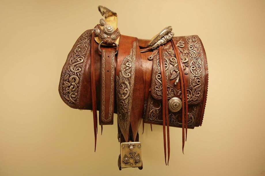 Pancho Villa's Saddle, made by Joaquin Rodriguez and Alberto Tulan Cingo Marquez, ca. 189-1910, leather and silver, on loan from the Ernie and Louise Davis Collection. Photo: Briscoe Museum Of Western Art