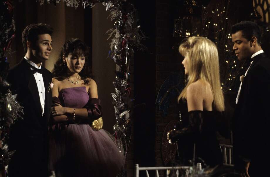 "Brian (Matt Borlenghi), An Li Chen (Lindsay Price), Hayley (Kelly Ripa) and Terence (Dondre Whitfield) at the Pine Valley High prom on ABC Daytime's ""All My Children"" in 1992.  (Photo by Ann Limongello/ABC via Getty Images) Photo: Ann Limongello, ABC Via Getty Images / 2009 American Broadcasting Companies, Inc."