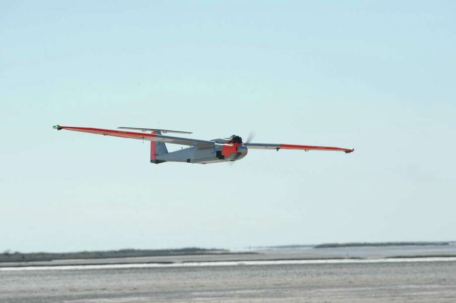 Researchers from Texas A&M-Corpus Christi and American Aerospace first tested the RS-16 unmanned aerial vehicle at Padre Island in October 2011. Photo: Texas A&M University Corpus Chri /        Texas A&M University Corpus Christi