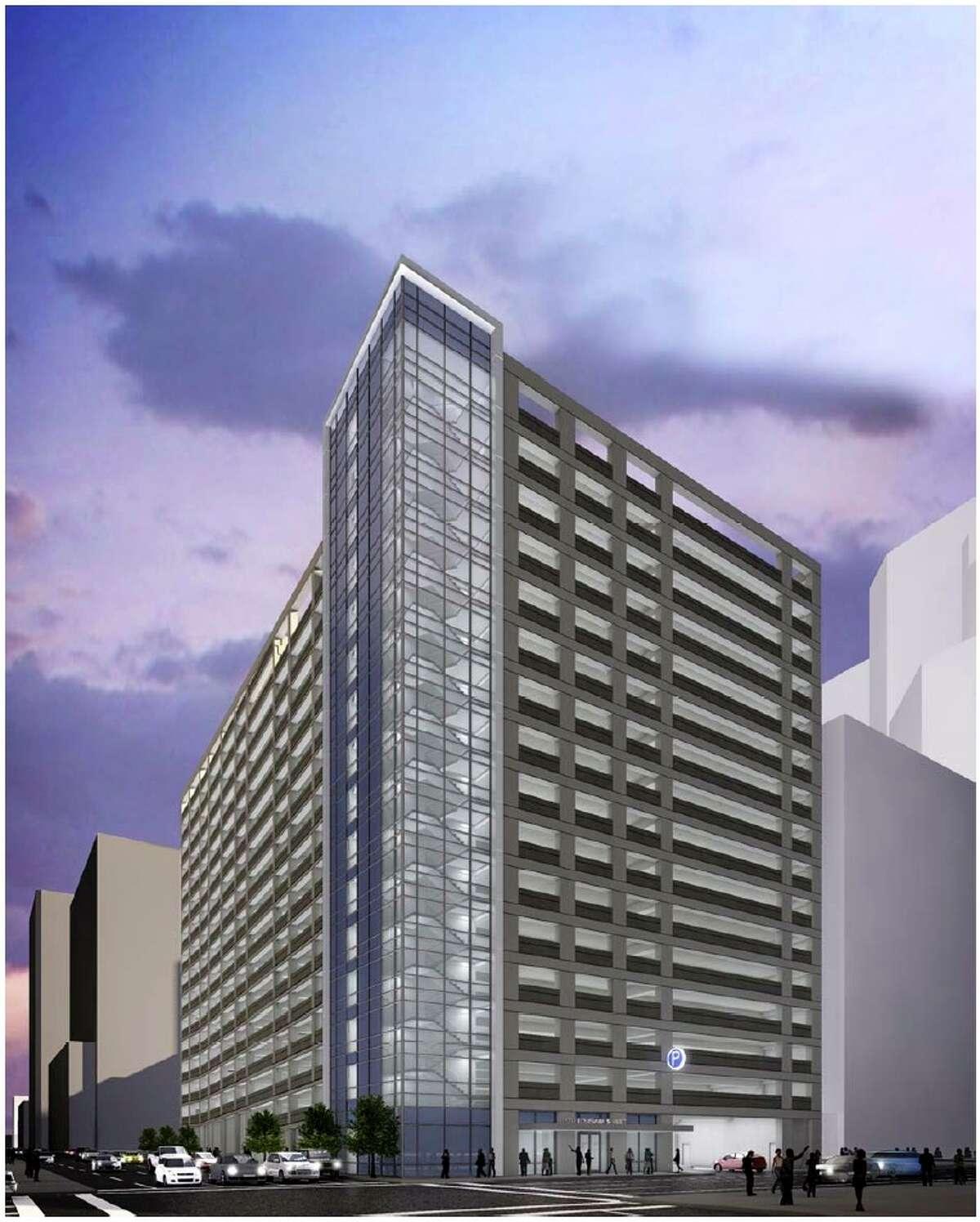 rendering of downtown parking garage