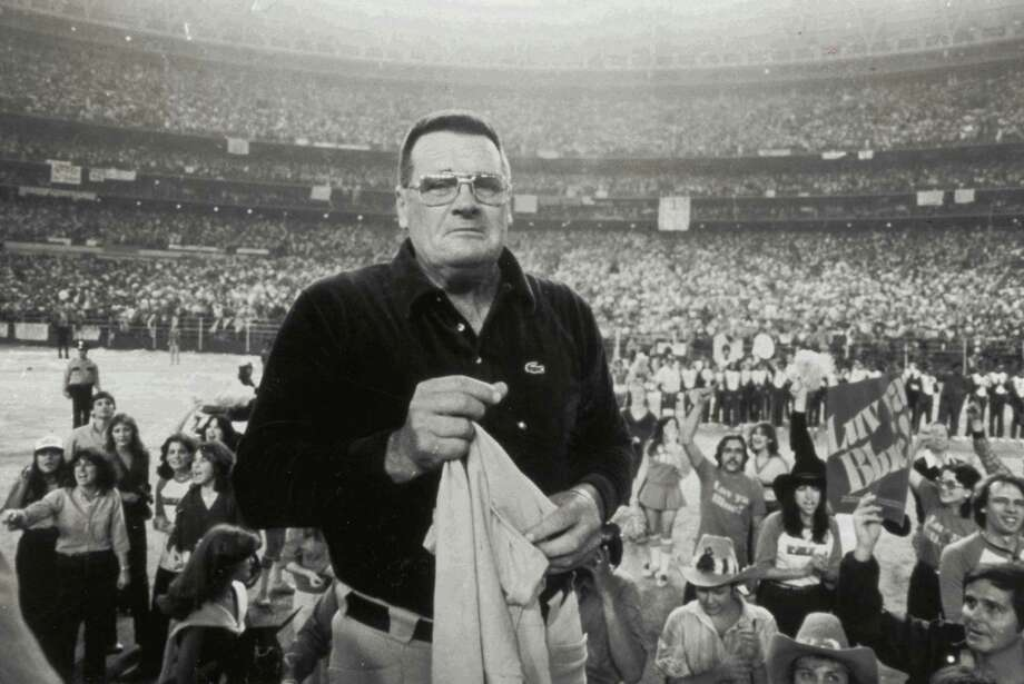Oilers coach Bum Phillips is overwhelmed by support from from 70,000 fans in the Astrodome after the Oilers playoff loss to the Steelers on Jan 6, 1980 / Houston Chronicle
