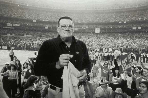 Oilers coach Bum Phillips is overwhelmed by support from from 70,000 fans in the Astrodome after the Oilers playoff loss to the Steelers on Jan 6, 1980