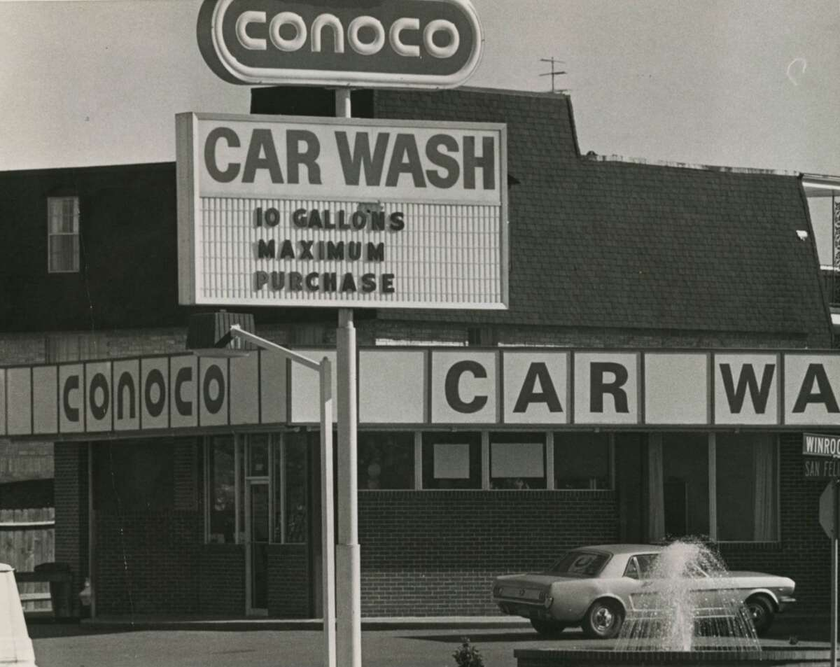 A Conoco service station at San Felipe Street and Winrock Boulevard in Houston limits gasoline purchases to 10 gallons in December 1973.
