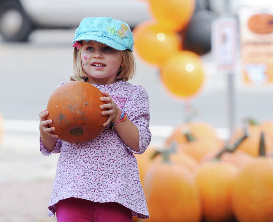 Drew Moore, 5, of Old Greenwich, picks a pumpkin during the Old Greenwich School Pumpkin Patch event at the school in Old Greenwich, Saturday, Oct. 19, 2013. Photo: Bob Luckey / Greenwich Time
