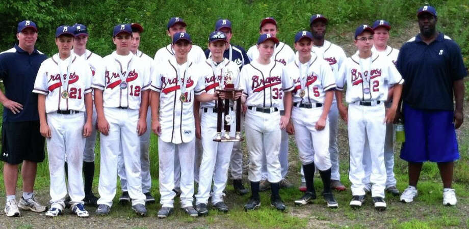The Bethlehem Braves 15U team: (front row, from left): Phil Proper, Noah Dilbone, Dominick Savona, Steven Verstandig, Dan Sausto, Jake Swistak, Tim Granger and coach Mark Davis. Back row: coach Art Proper, Colin Adams, Logan Frangella, Levi Julian, Manager Paul McGrath, Ryan Mulholland, Okoye Davis and Alex Shields.