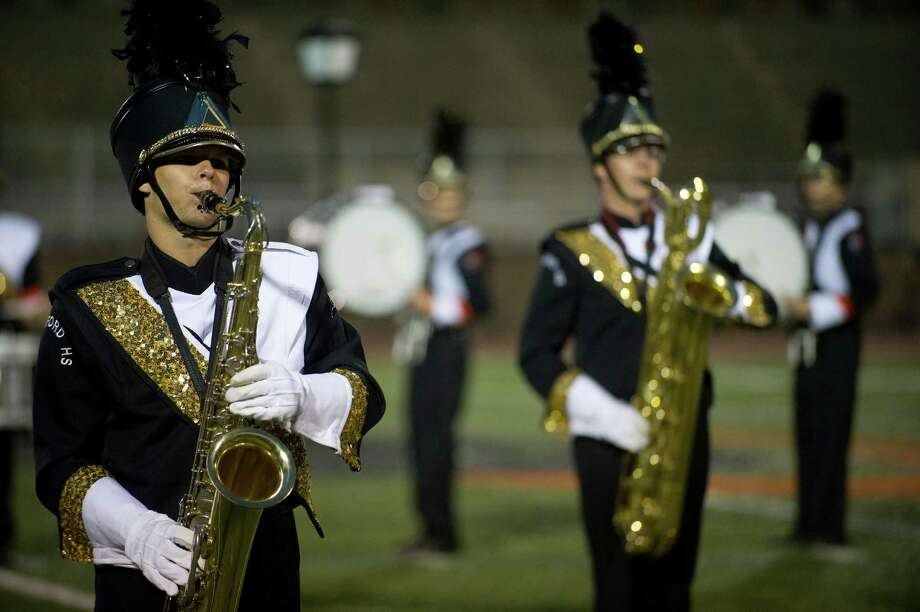 The Stamford High School marching band plays in exhibition during Knight Music!, a regional marching band competition at Stamford High School on Saturday, October 19, 2013. Photo: Lindsay Perry / Stamford Advocate