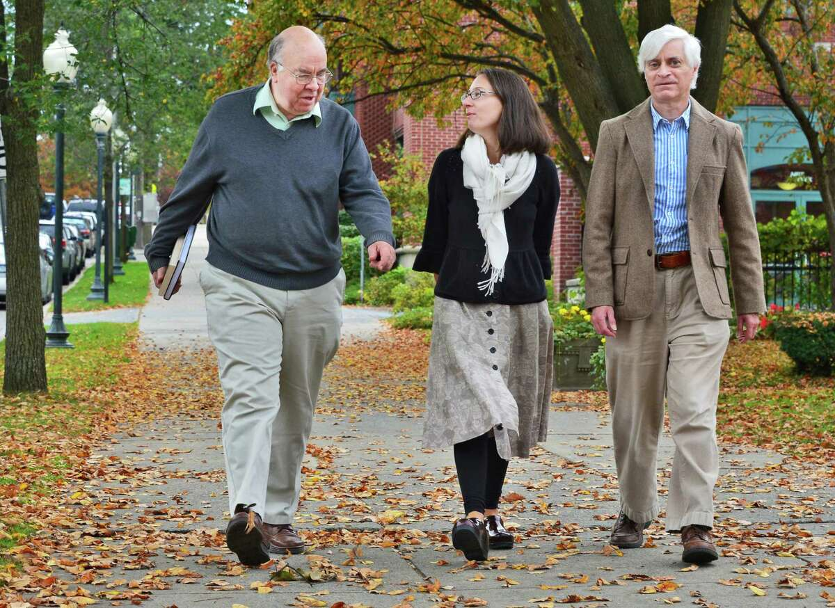 Local authors, from left, Clifford Brown, Rachel Seligman, and David Fiske Wednesday Oct. 16, 2013, on Broadway in Saratoga Springs, NY. They have written a new, full biography of Solomon Northup. (John Carl D'Annibale / Times Union)