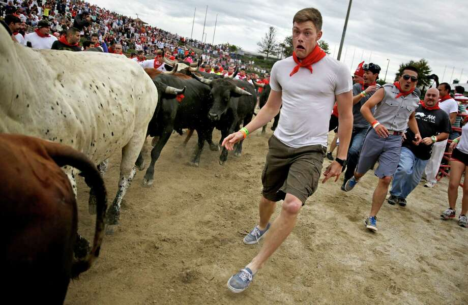 A participant runs alongside charging bulls during the Great Bull Run at the Georgia International Horse Park, Saturday, Oct. 19, 2013, in Conyers, Ga. Photo: David Goldman, Associated Press / AP