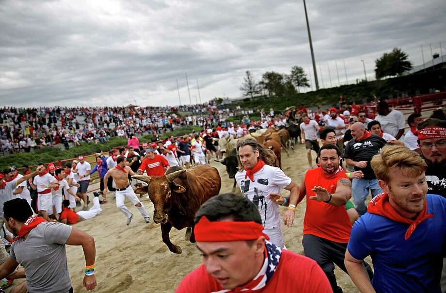Participants run alongside charging bulls during the Great Bull Run at the Georgia International Horse Park, Saturday, Oct. 19, 2013, in Conyers, Ga. Photo: David Goldman, Associated Press / AP