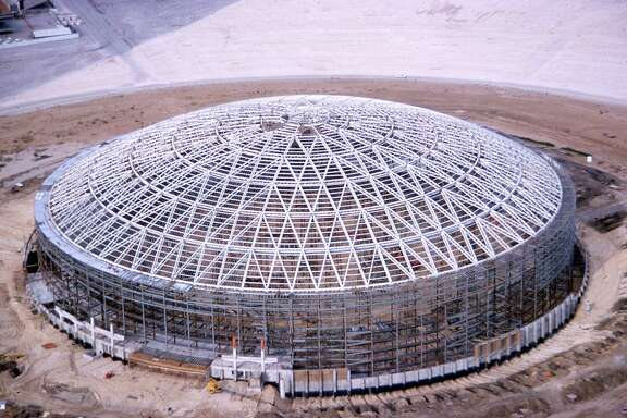 Astrodome exterior photo during construction.