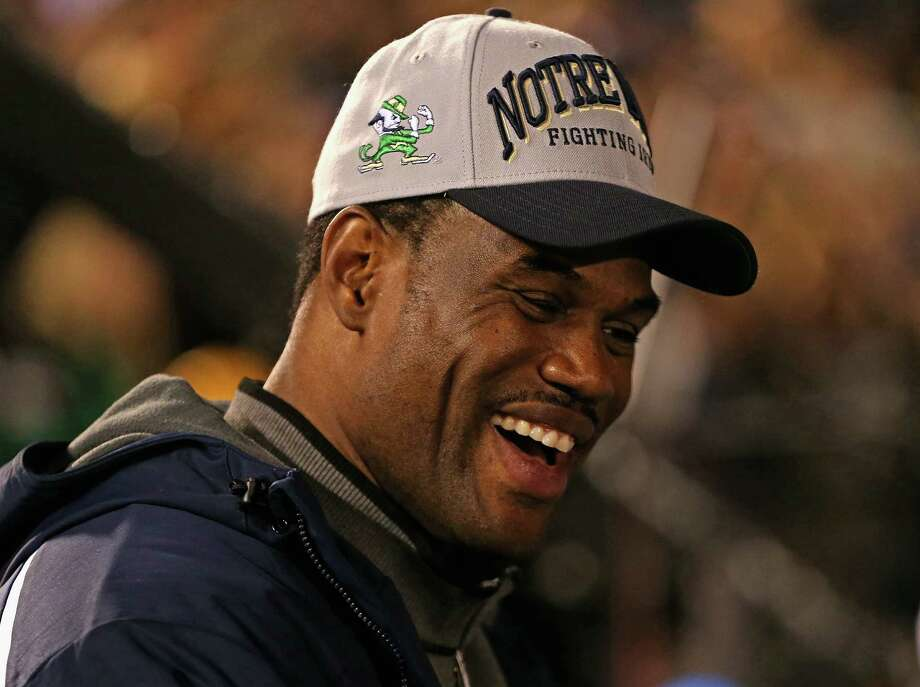 Former NBA player David Robinson, whose son Corey plays for the Notre Dame Fighting Irish, talks with fans before a game between Notre Dame and the University of Southern Califonia Trojans at Notre Dame Stadium on October 19, 2013 in South Bend, Indiana. Photo: Jonathan Daniel, Getty Images / 2013 Getty Images