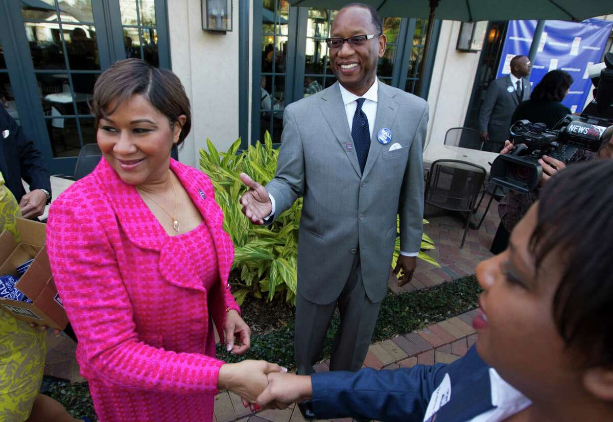 Former city attorney Ben Hall and his wife, Saundra, left, greet supporters as he announces his candidacy for mayor at Tony Mandola's restaurant on March 6.
