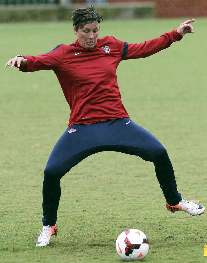 Abby Wambach, practicing at Trinity this past week, holds the international record for goals scored — by a male or female player — with 161. Photo: Tom Reel / San Antonio Express-News