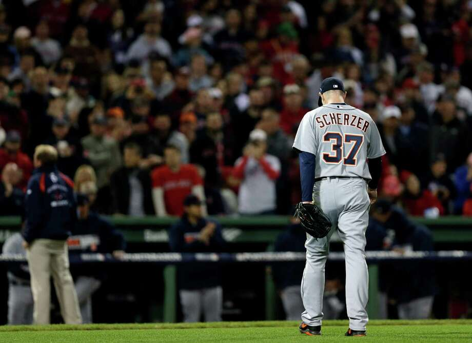Detroit Tigers starting pitcher Max Scherzer leaves the game in the seventh inning during Game 6 of the American League baseball championship series against the Boston Red Sox on Saturday, Oct. 19, 2013, in Boston. (AP Photo/Charles Krupa) ORG XMIT: ALCS207 Photo: Charles Krupa / AP