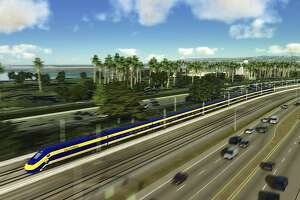 An undated handout rendering of California's high-speed rail project. The state's leaders have rallied around a plan to build a rail line from Los Angeles to San Francisco, in the face of seemingly insurmountable political and fiscal obstacles. (California High-Speed Rail Authority via The New York Times) -- EDITORIAL USE ONLY