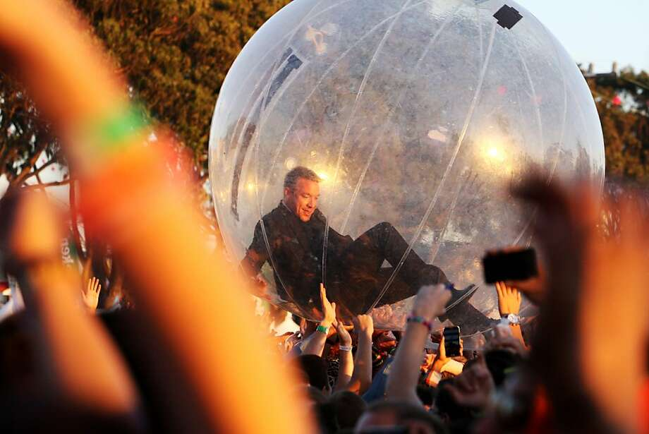 Diplo crowd surfs in a plastic orb during his set with Major Lazer at the Treasure Island Music Festival in San Francisco, Calif. on Saturday, Oct. 19, 2013. Photo: Raphael Kluzniok, The Chronicle