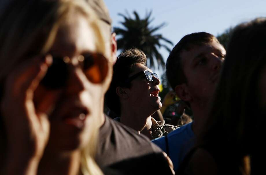 A festival goer sings along in the crowd during the Major Lazer set at the Treasure Island Music Festival in San Francisco, Calif. on Saturday, Oct. 19, 2013. Photo: Raphael Kluzniok, The Chronicle
