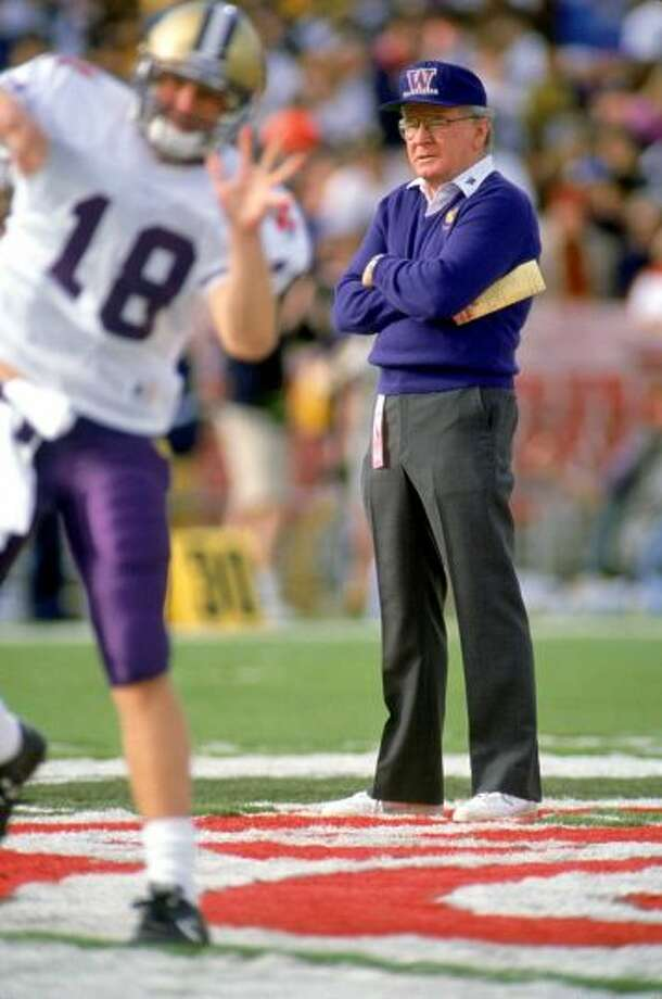 Head coach Don James of the Washington Huskies stands on the field before the 1992 Rose Bowl against the Michigan Wolverines at the Rose Bowl. Photo:  Bernstein Associates, Getty Images