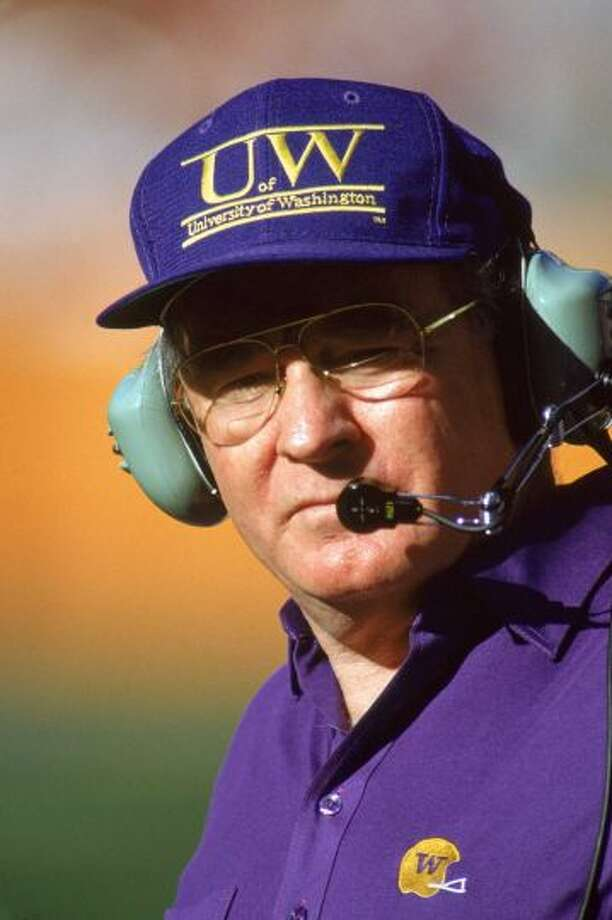 Head coach Don James of the Washington Huskies looks on during a game in December 1989. Photo:  Bernstein Associates, Getty Images