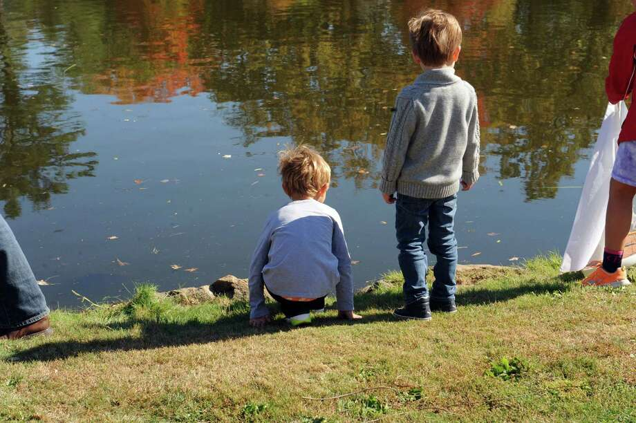 Britt Clark, 3, and Luke Foley, 4, watch the pond at Old Greenwich- Riverside Civic Center's 51st annual Model Saiboat Regatta in Binney Park, Conn., Sunday, Oct. 20, 2013. Photo: Helen Neafsey / Greenwich Time