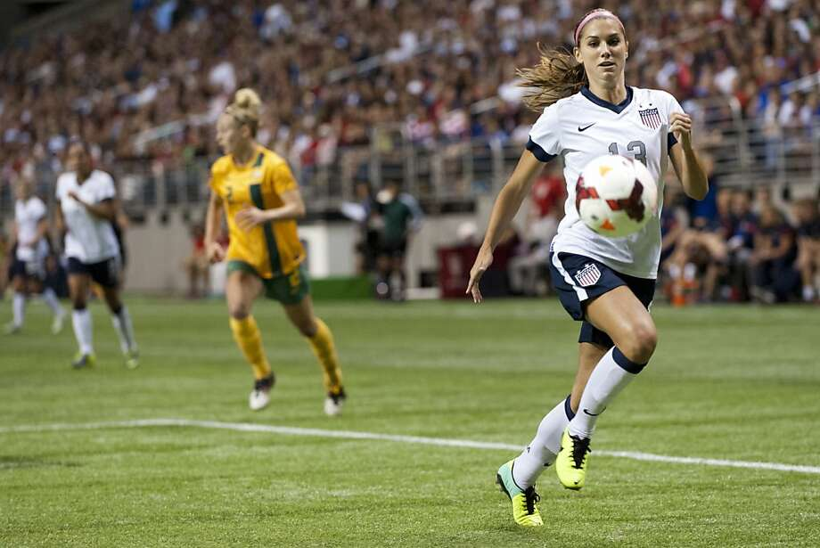 Team USA forward Alex Morgan, a former Cal player, tracks down the ball during a victory over Australia in San Antonio. Photo: Cooper Neill, Getty Images