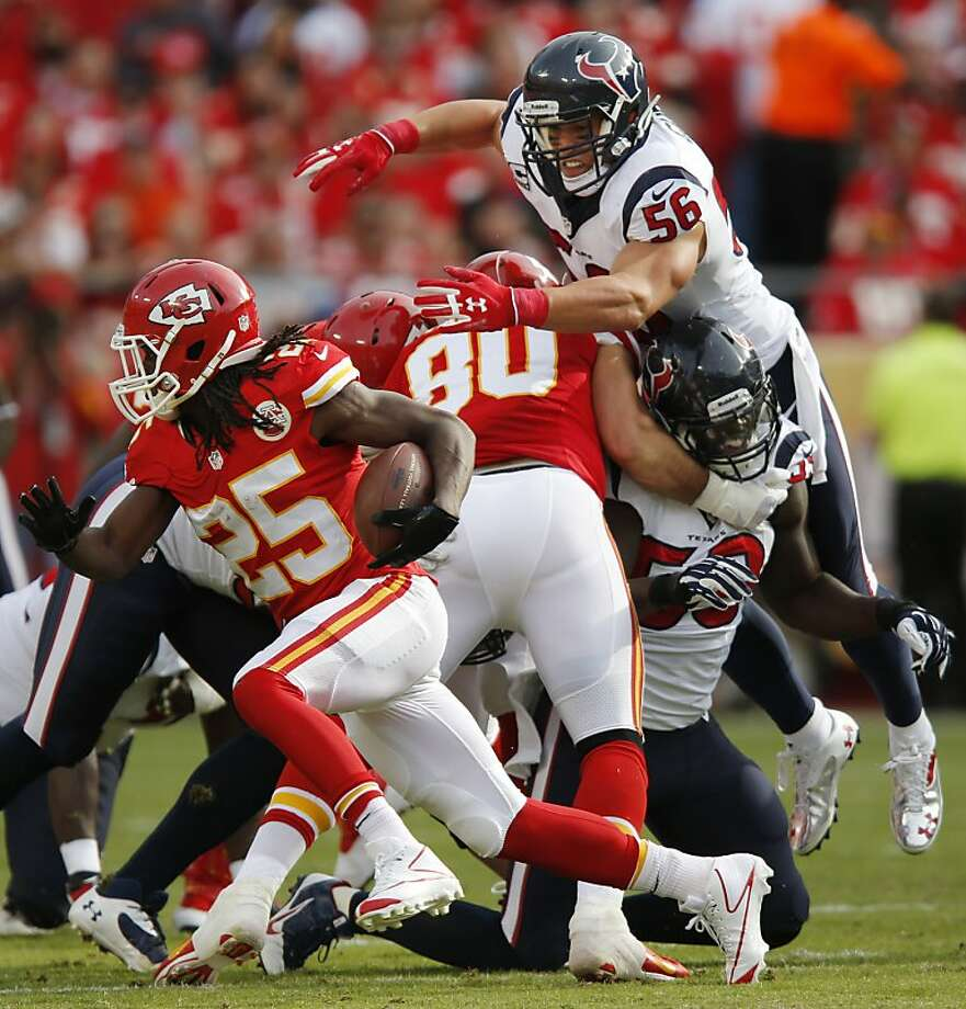 Jamaal Charles gained 123 yards from scrimmage to tie a record held by O.J. Simpson. Photo: Ed Zurga, Associated Press