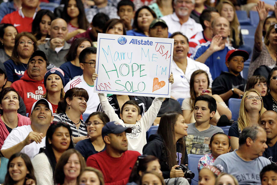 A United States of America soccer fan holds a sign during an international friendly soccer match with Australia  Sunday Oct. 20, 2013 at the Alamodome. The USA won 4-0. Photo: Edward A. Ornelas, San Antonio Express-News / © 2013 San Antonio Express-News