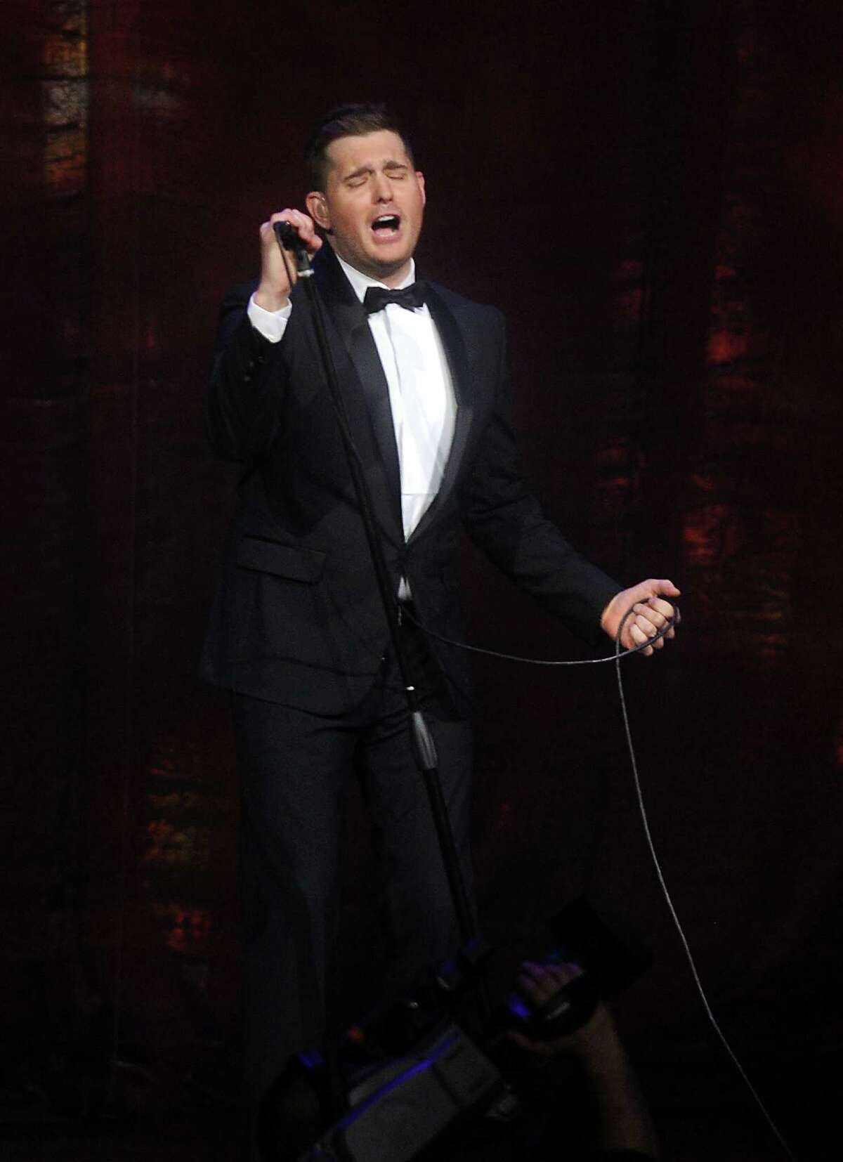 Michael Buble performs at the Toyota Center Sunday Oct. 20,2013.