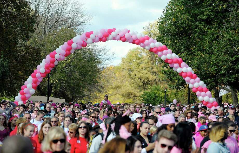 People taking part the Making Strides Against Breast Cancer Walk walk under an arch made of balloons at Washington Park on Sunday, Oct. 20, 2013 in Albany, NY.  Organizers said that $1 million dollars was raised at the Albany event and they were expecting 15,000 people to take part in the walk.  For the Eastern Division of the American Cancer Society, which covers New York and New Jersey, 24 walks were held and a total of $20 million dollars was raised, according to organizers.   (Paul Buckowski / Times Union) Photo: Paul Buckowski / 00024068A