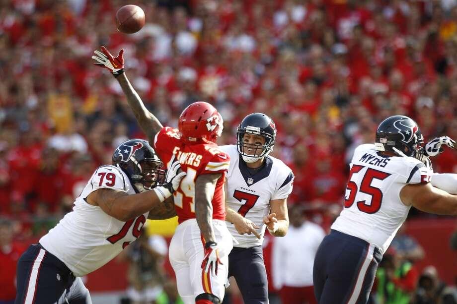 Week 7: Chiefs 17, Texans 16Texans quarterback Case Keenum throws a pass  against the Kansas City Chiefs during his first NFL game at Arrowhead Stadium  in Kansas City. Photo: Brett Coomer, Houston Chronicle