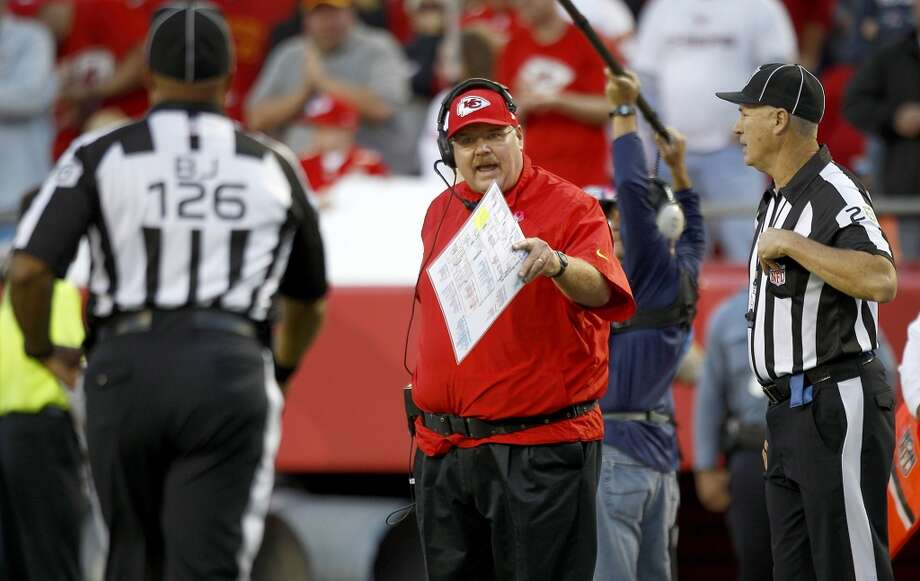 Chiefs head coach Andy Reid argues a call during the fourth quarter. Photo: Brett Coomer, Houston Chronicle