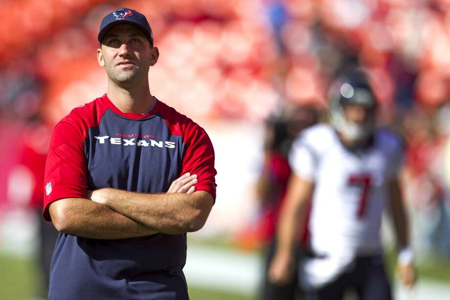 Texans quarterback Matt Schaub watches warm ups before the game. Photo: Brett Coomer, Houston Chronicle
