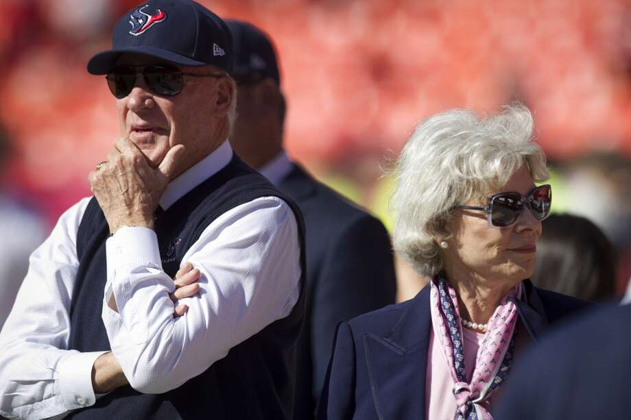 Texans owner Bob McNair and his wife, Janice, watch warm ups before the game. Photo: Brett Coomer, Houston Chronicle
