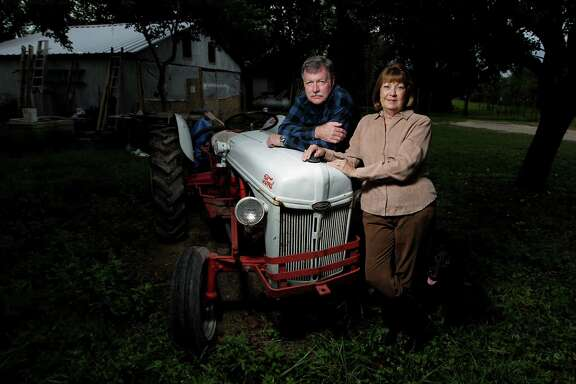 David Peter Franz, an ancestor of Donnah Jones, left, bought a 160-acre tract in the Katy Praire in 1898. Now, Donnah and her husband Larry Jones watch the city descend on their doorstep.
