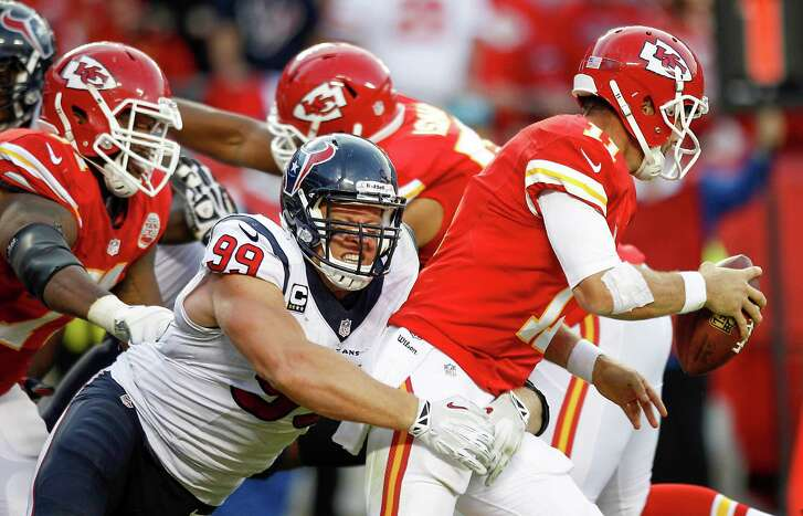 A strong second half by J.J. Watt, including this sack of Alex Smith, gave the Texans a chance to pull an upset Sunday.