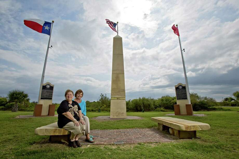 Anne Willis (left) and Margot Johnson were instrumental in having the Jane Long Monument erected on the Bolivar Peninsula. Residents, rebuilding from Hurricane Ike five years ago, often look to Long for inspiration. Photo: Thomas B. Shea / Houston Chronicle