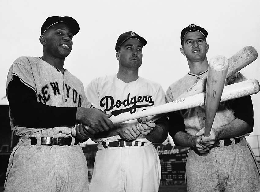 FILE - In this Sept. 21 1954, file photo, some of the players in the race for the National League baseball batting title that season pose in New York. From left are New York Giants' Willie Mays, Brooklyn Dodgers' Duke Snider, and Giants' Don Mueller, right. Snider, 84, died early Sunday, Feb. 27, 2011, of what the family called natural causes at the Valle Vista Convalescent Hospital in Escondido, Calif. Snider was part of the charmed