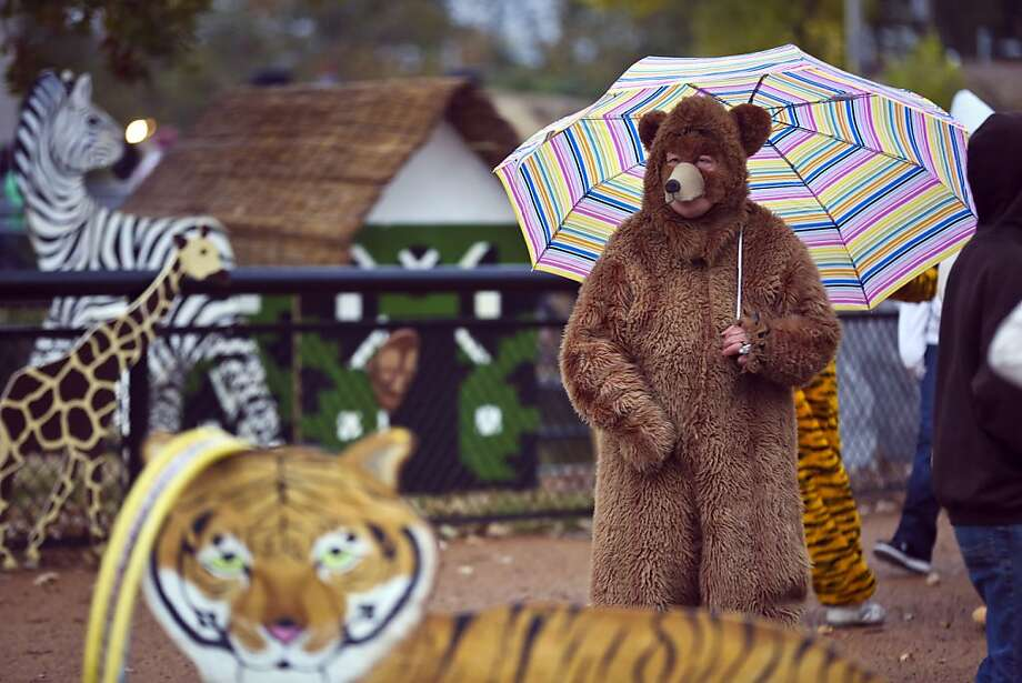 Jan Fisher, of Bloomington dressed as a bear, kept dry with her umbrella as she walked through the Como Zoo's ZooBoo on Sunday, Oct. 20, 2013 in St. Paul, Minn. (AP Photo/The Star Tribune, Renee Jones Schneider) Photo: Renee Jones Schneider, Associated Press