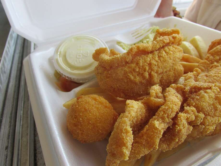Two-piece catfish dinner at the Hushpuppy in Vidor. Photo: Cat5