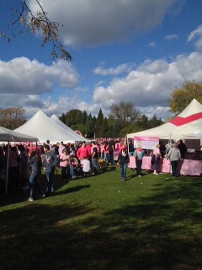 Registration and breast cancer clothing items were located in big tents around the park. Photo by Courtney Suitto.