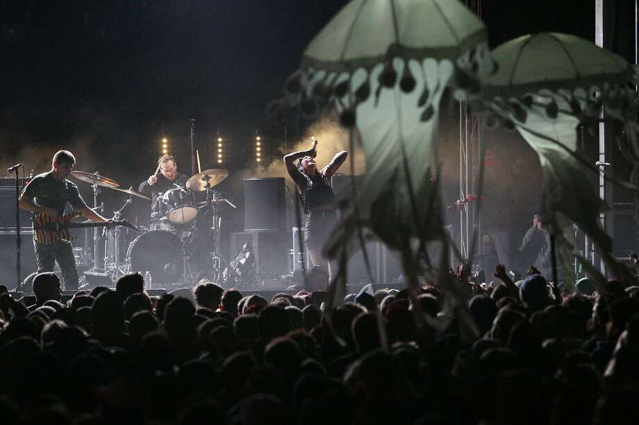 Sleigh Bells perform while jellyfish appear to float above the crowd at the Treasure Island Music Festival in San Francisco, Calif. on Sunday, Oct. 20, 2013. Photo: Raphael Kluzniok, The Chronicle