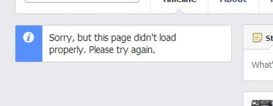 According to several media outlets Monday morning, Facebook has had technical probelms. This screenshot shows an error message on one of the several content areas of a page.