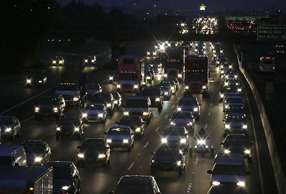 Traffic slows on Interstate 80 leading to the San Francisco-Oakland Bay Bridge during the morning commute. Photo: Eric Risberg, Associated Press