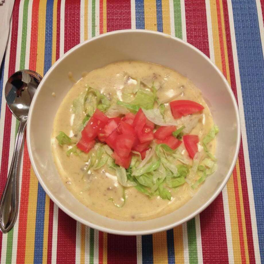 Homemade bacon cheeseburger soup, with Oscar's Bacon, and garnished with lettuce and tomato. It was delish! Submitted by Nicole Sfara Casey